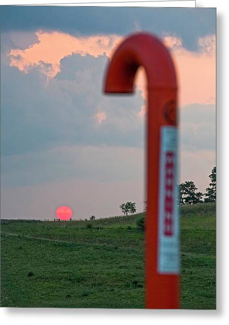 Natural Gas Pipeline Marker At Sunset Greeting Card