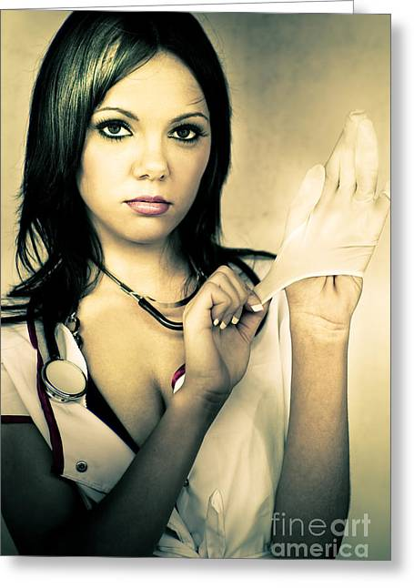 Naughty Nurse Greeting Card by Jorgo Photography - Wall Art Gallery