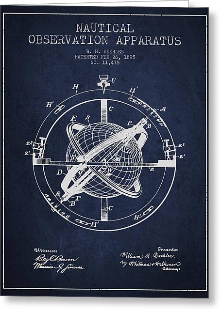 Nautical Observation Apparatus Patent From 1895 - Green Greeting Card by Aged Pixel
