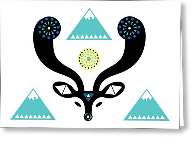 Navajo Deer Greeting Card by Susan Claire