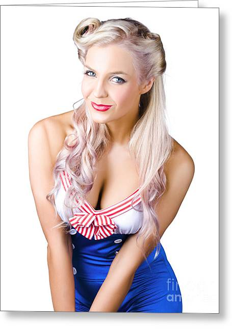 Navy Pinup Woman Greeting Card