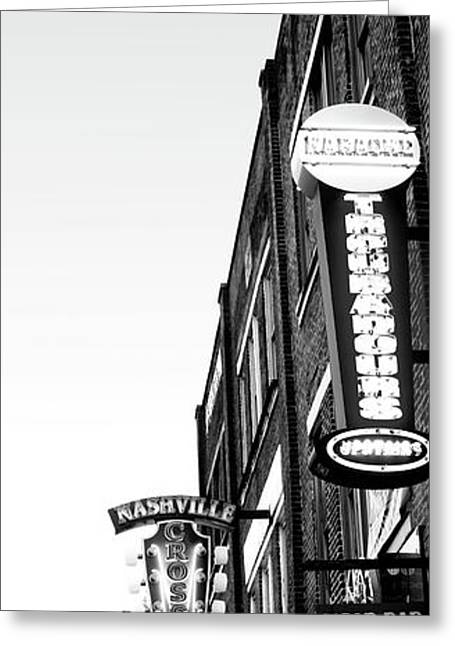 Neon Signs At Dusk, Nashville Greeting Card by Panoramic Images