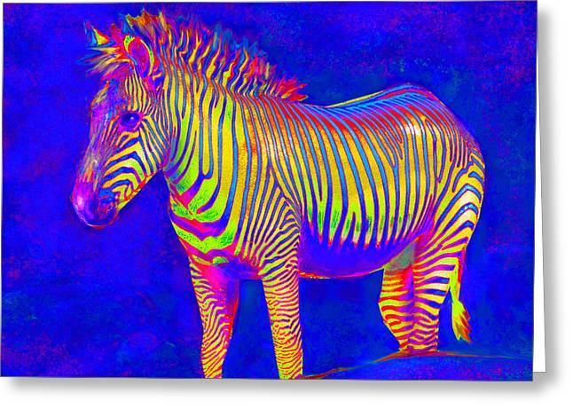 Greeting Card featuring the digital art Neon Zebra 2 by Jane Schnetlage