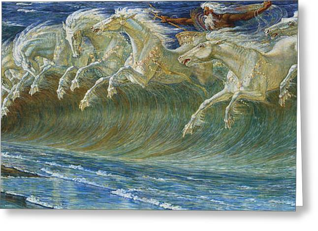 Neptune's Horses Greeting Card by Walter Crane