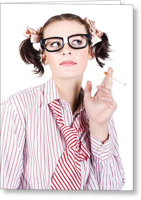 Nerd Girl Smoking Greeting Card