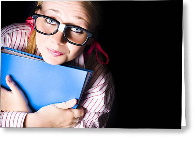 Nerd Grade School Student Holding Textbook Greeting Card by Jorgo Photography - Wall Art Gallery