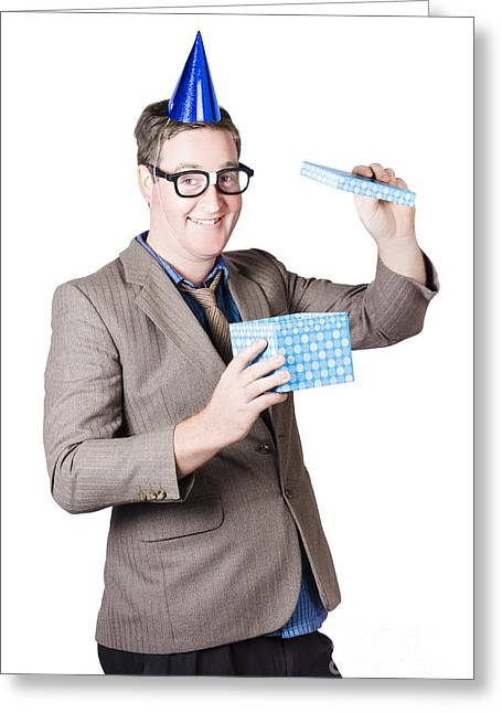 Nerd Man With Happy Birthday Present Greeting Card