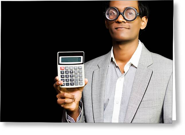 Nerdy Asian Accountant Or Maths Genius Greeting Card by Jorgo Photography - Wall Art Gallery