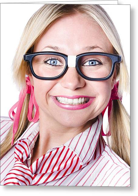 Nerdy Businesswoman With A Cheeky Grin Greeting Card by Jorgo Photography - Wall Art Gallery