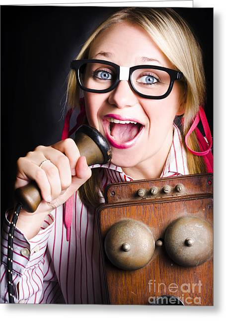 Nerdy Pr Business Person Making Announcement Greeting Card by Jorgo Photography - Wall Art Gallery