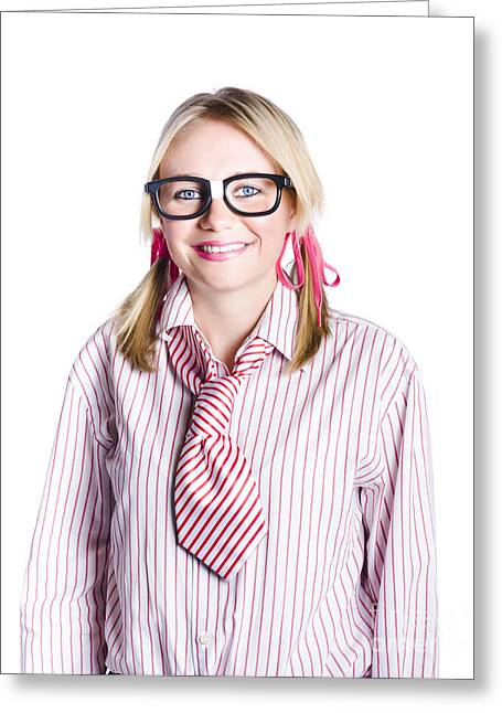 Nerdy Young Business Person Greeting Card by Jorgo Photography - Wall Art Gallery