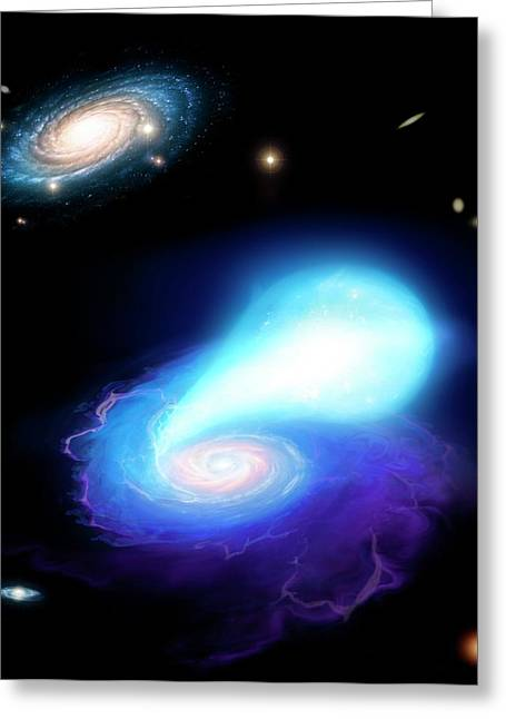 Neutron Star And White Dwarf Merging Greeting Card by Mark Garlick