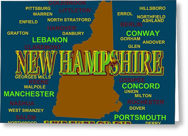 New Hampshire State Pride Map Silhouette  Greeting Card by Keith Webber Jr