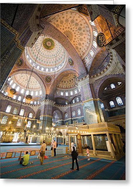 New Mosque Interior In Istanbul Greeting Card