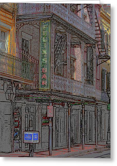 Entrance Door Mixed Media Greeting Cards - New Orleans - Bourbon Street with Pencil Effect Greeting Card by Frank Romeo