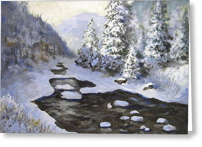 Greeting Card featuring the painting New Snow by Carol Hart