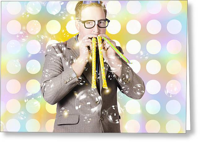 New Years Eve Man Celebrating At A Countdown Party Greeting Card