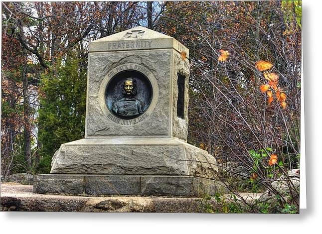 New York At Gettysburg - 140th Ny Volunteer Infantry Little Round Top Colonel Patrick O' Rorke Greeting Card