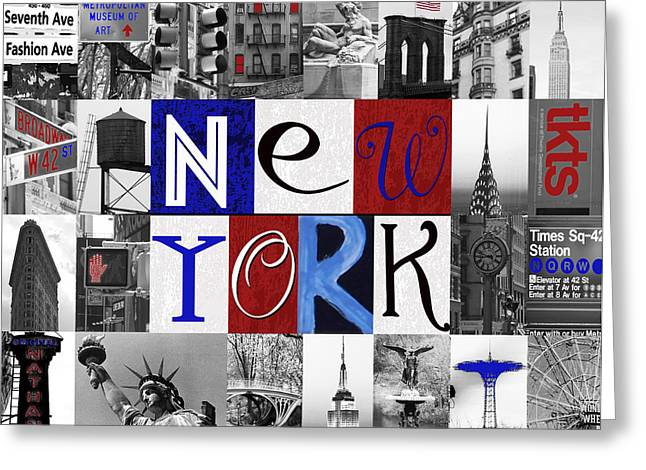 New York Collage II Greeting Card by Marilu Windvand