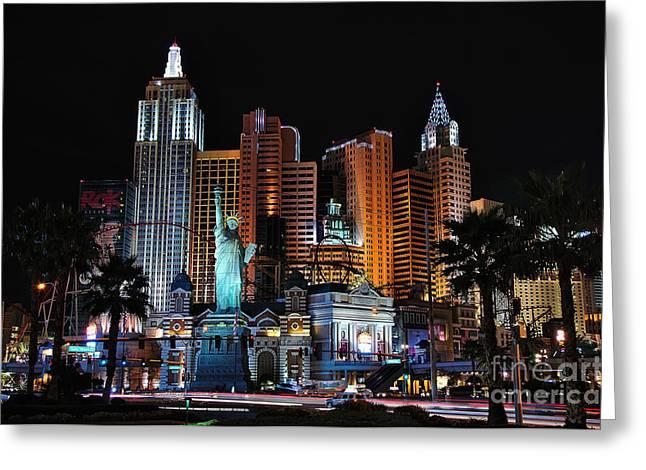 New York New York Hotel And Casino Greeting Card by Eddie Yerkish