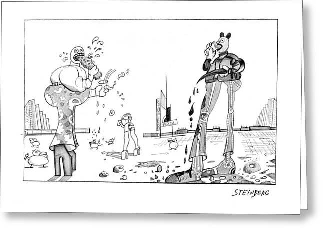 New Yorker February 23rd, 1976 Greeting Card by Saul Steinberg