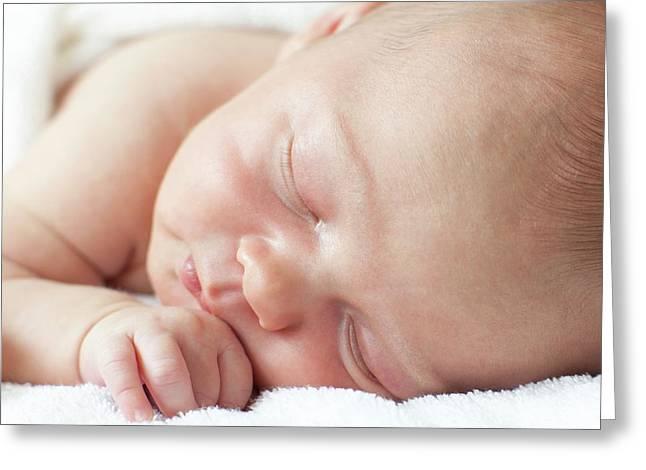 Newborn Baby Boy Asleep Greeting Card by Ian Hooton