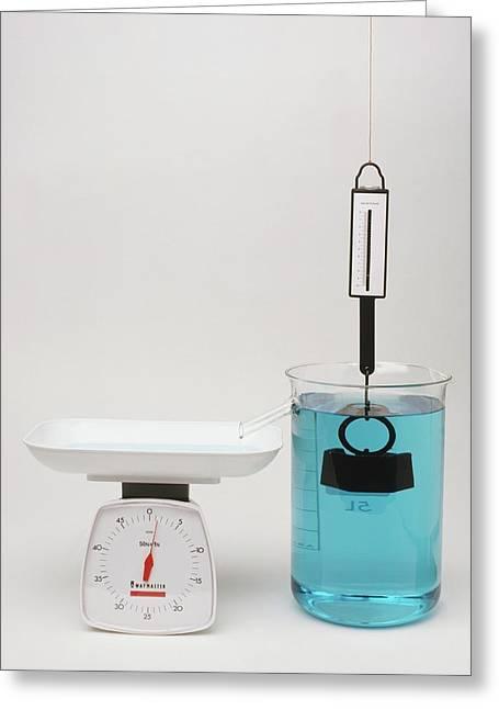 Newton Meter Pulled By Weight Greeting Card by Dorling Kindersley/uig