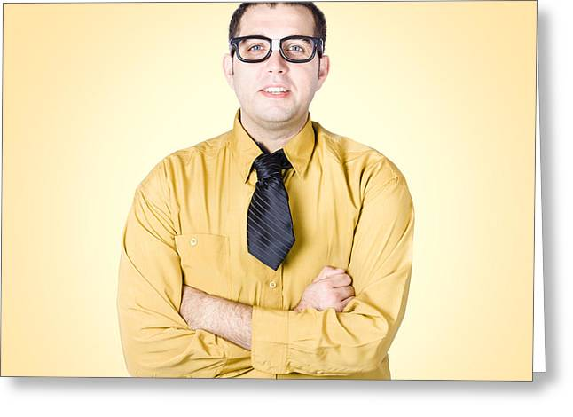 Nice Nerd Business Salesman On Yellow Background Greeting Card
