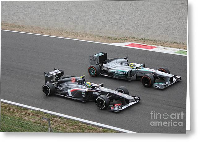 Nico Rosberg And Esteban Gutierrez Greeting Card by David Grant