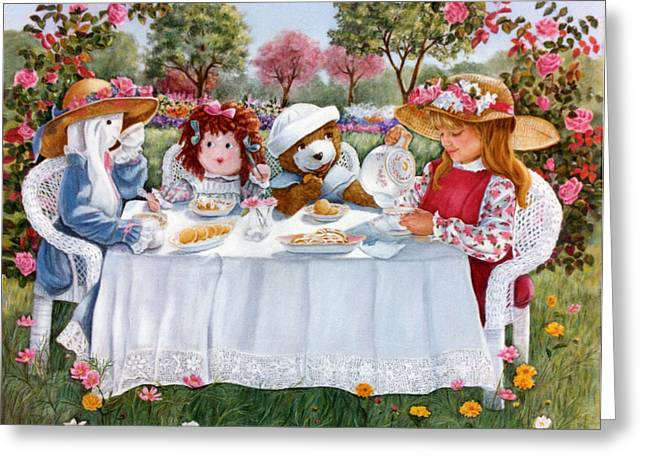 Nicole's Magic Tea Party Greeting Card by Ann Peck