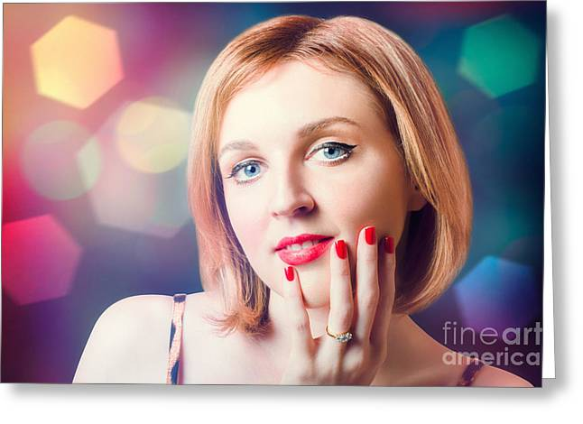 Night Fashion Photo. Beauty Model In Diamond Ring Greeting Card