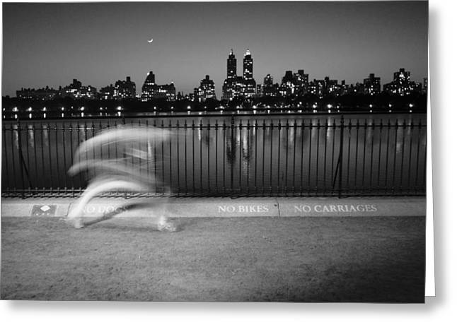 Greeting Card featuring the photograph Night Jogger Central Park by Dave Beckerman