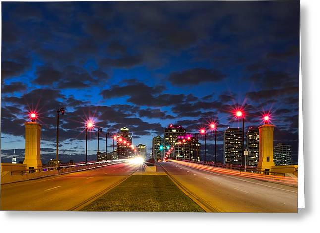 Night Lights Greeting Card by Debra and Dave Vanderlaan