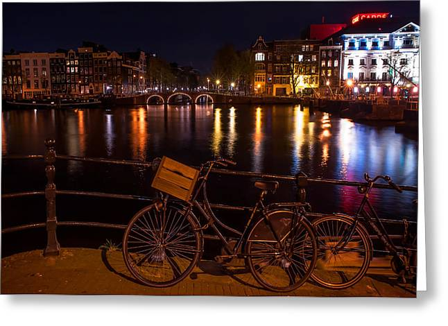 Night Lights On The Amsterdam Canals. Holland Greeting Card by Jenny Rainbow
