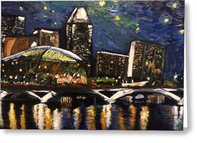 Greeting Card featuring the painting Night On The River by Belinda Low