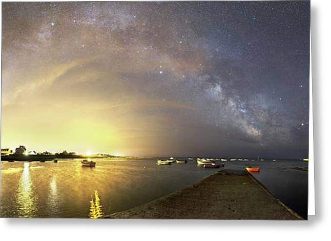 Night Sky Over A Harbour Greeting Card by Laurent Laveder