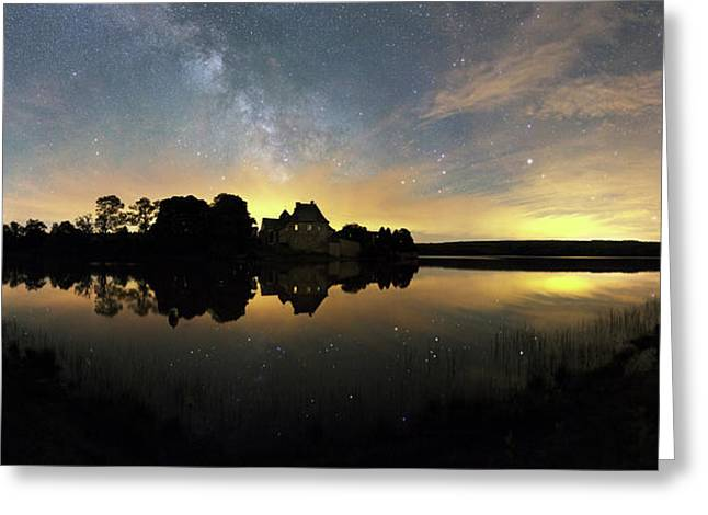 Night Sky Over A Lake Greeting Card by Laurent Laveder