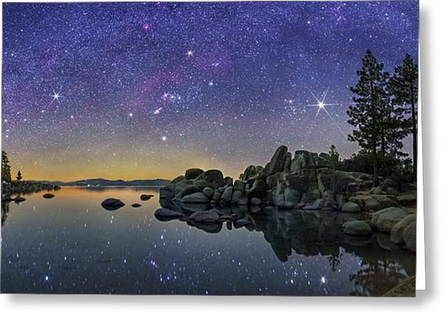 Night Sky Over Lake Tahoe Greeting Card by Walter Pacholka, Astropics