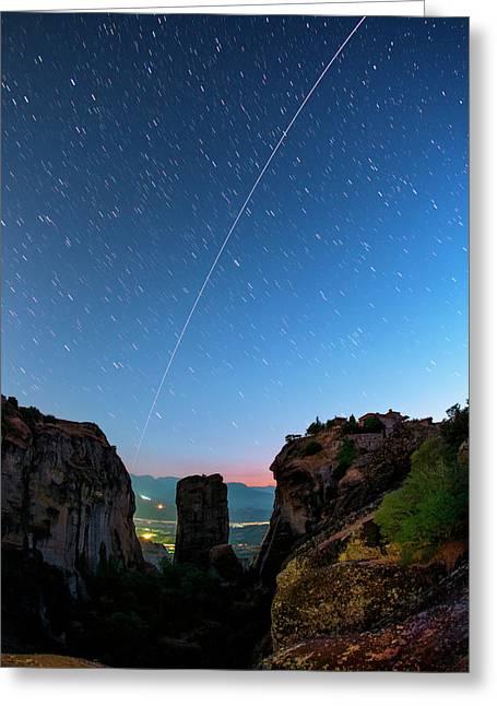 Night Sky Over Meteora Greeting Card by Babak Tafreshi