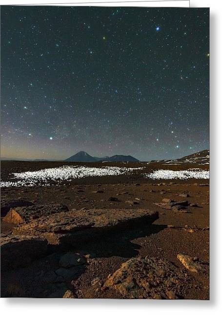 Night Sky Over The Licancabur Volcano Greeting Card