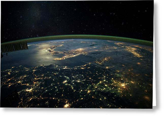Night Time Satellite View Of Planet Greeting Card