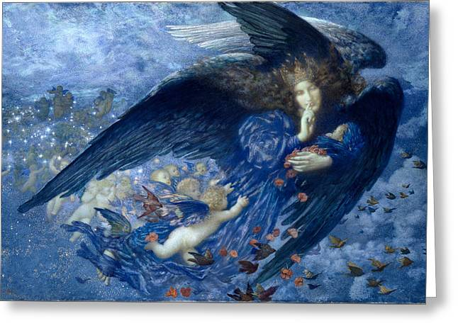 Night With Her Train Of Stars Greeting Card by Edward Robert Hughes