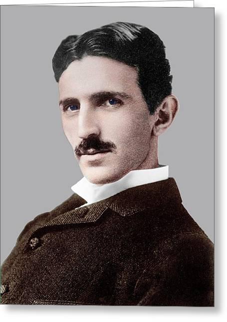 Nikola Tesla Greeting Card by Library Of Congress