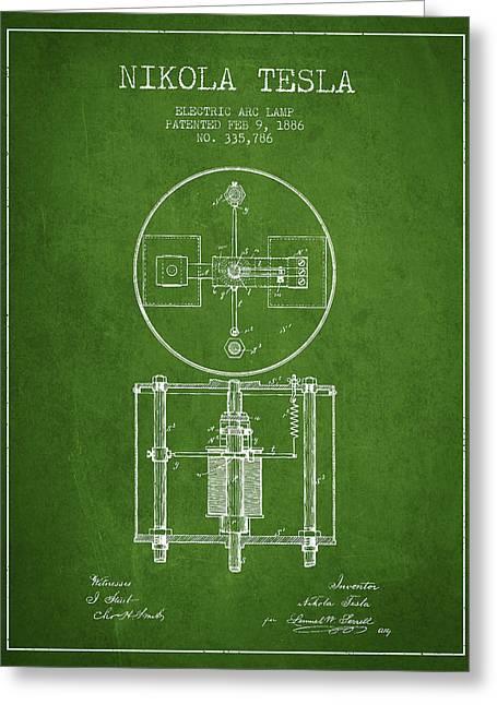 Nikola Tesla Patent Drawing From 1886 - Green Greeting Card