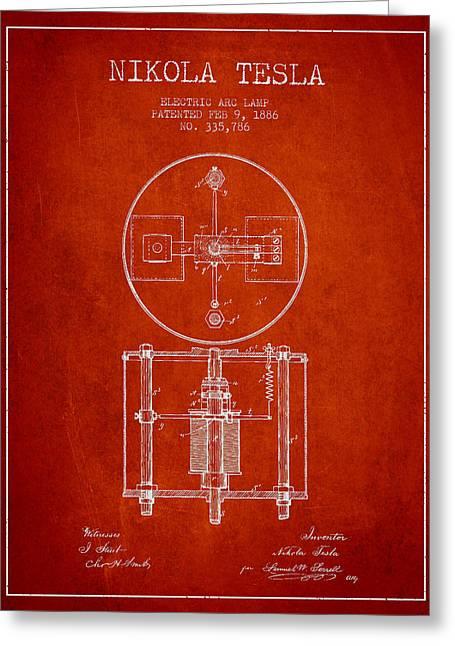 Nikola Tesla Patent Drawing From 1886 - Red Greeting Card
