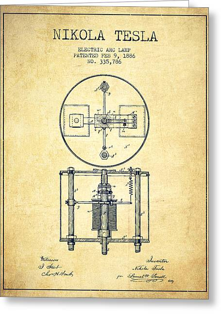 Nikola Tesla Patent Drawing From 1886 - Vintage Greeting Card by Aged Pixel