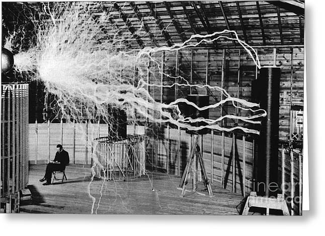 Nikola Tesla Serbian-american Inventor Greeting Card by Science Source