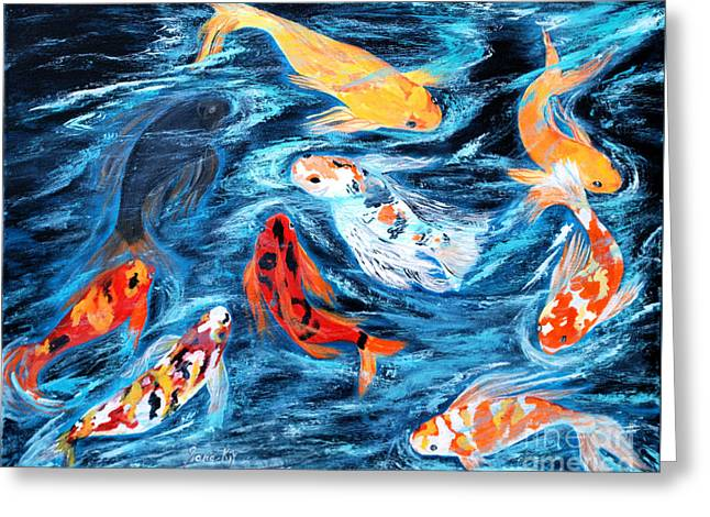 Good  Luck Painting. Nine Koi Fish. Inspirations Collection. Greeting Card