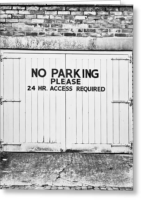 No Parking Greeting Card by Tom Gowanlock