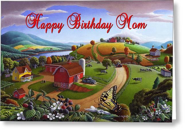 no7 Happy Birthday Mom Greeting Card by Walt Curlee